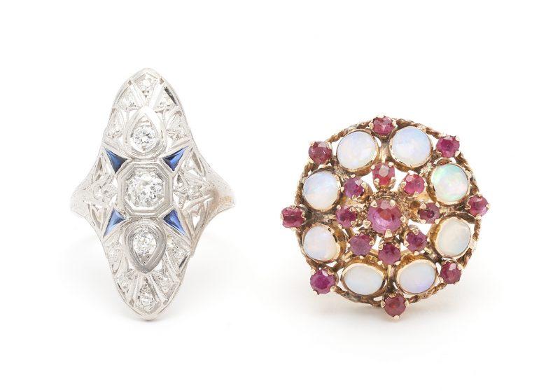 Lot 926: 2 Ladies Rings, Art Deco and Opal & Ruby