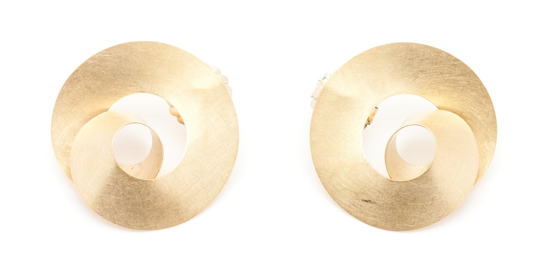Lot 928: Pr. Ladies Designer 18K Gold Earrings, Niessing