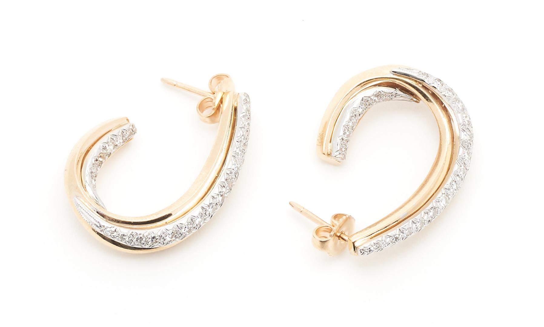 Lot 929: Pr. Ladies 14K Gold & Diamond Hoop Earrings