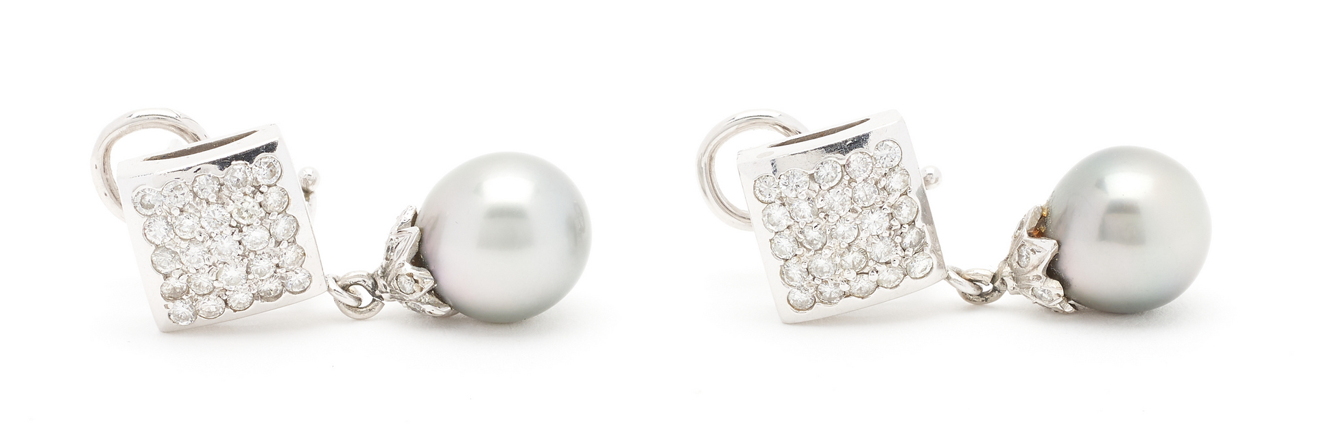 Lot 930: Pr. Ladies 14K Diamond & Pearl Earrings