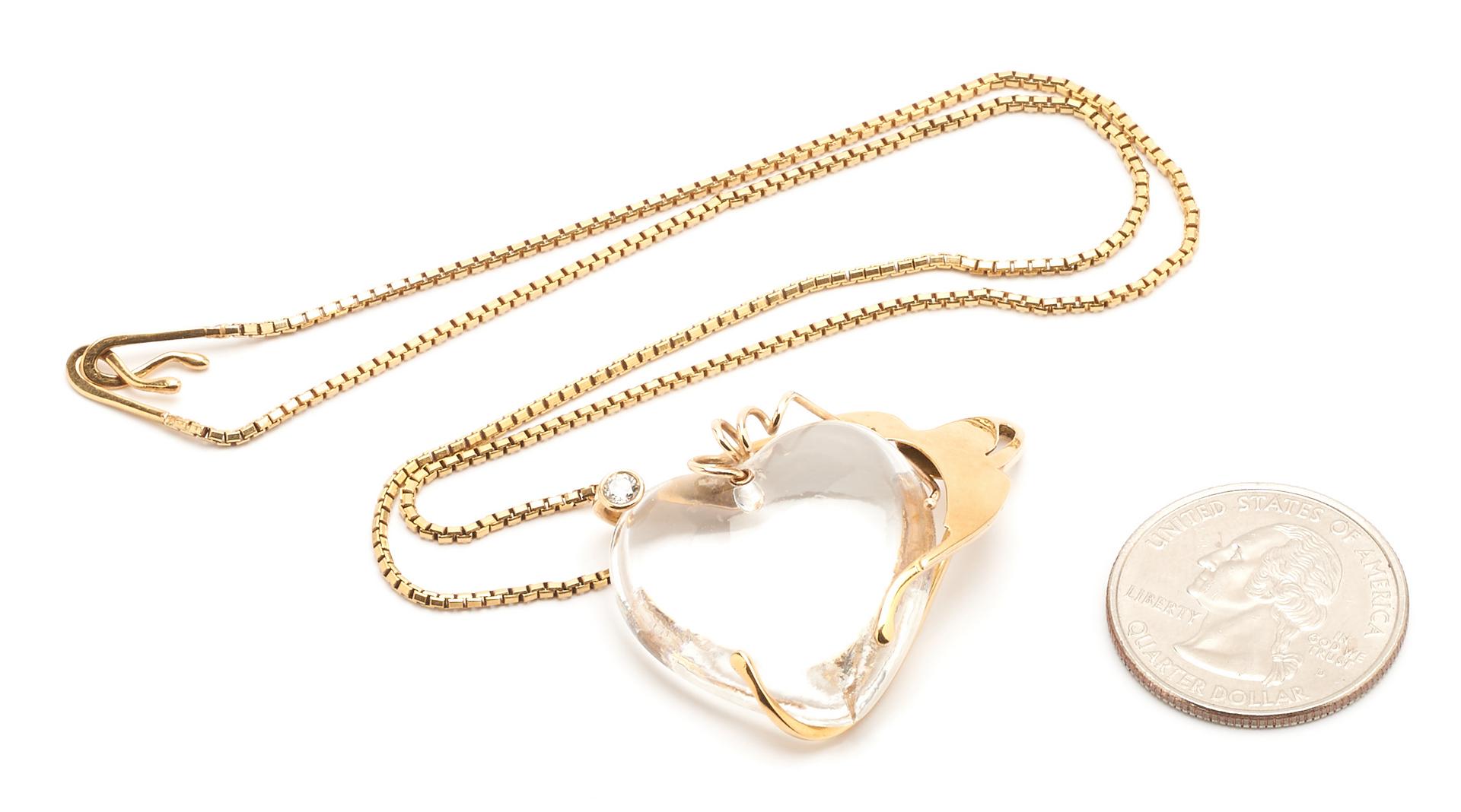 Lot 931: Michael Tomlinson 18K Necklace & Glass Heart Pendant