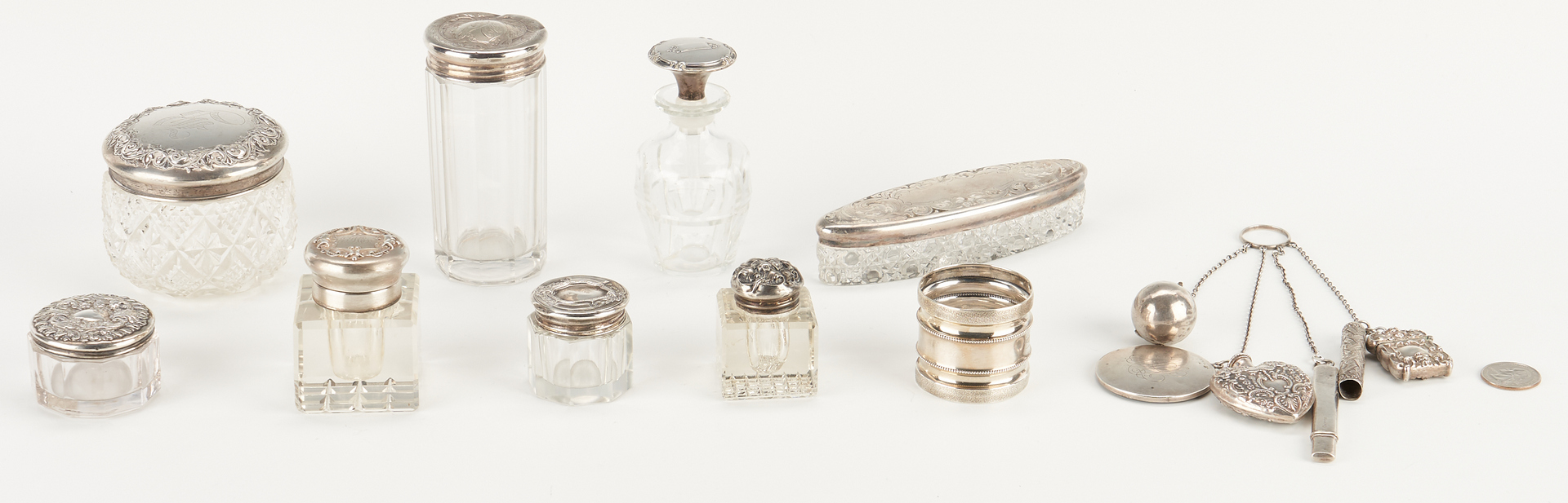 Lot 934: Silver Chatelaine and Vanity Items – 10 items total
