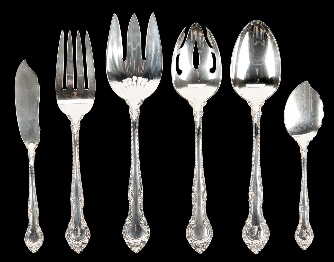Lot 93: 144 Pcs. Gorham English Gadroon Sterling Silver Flatware