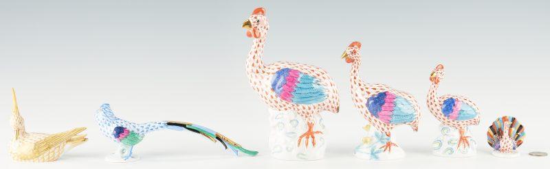 Lot 943: 6 Herend Porcelain Bird Figurines
