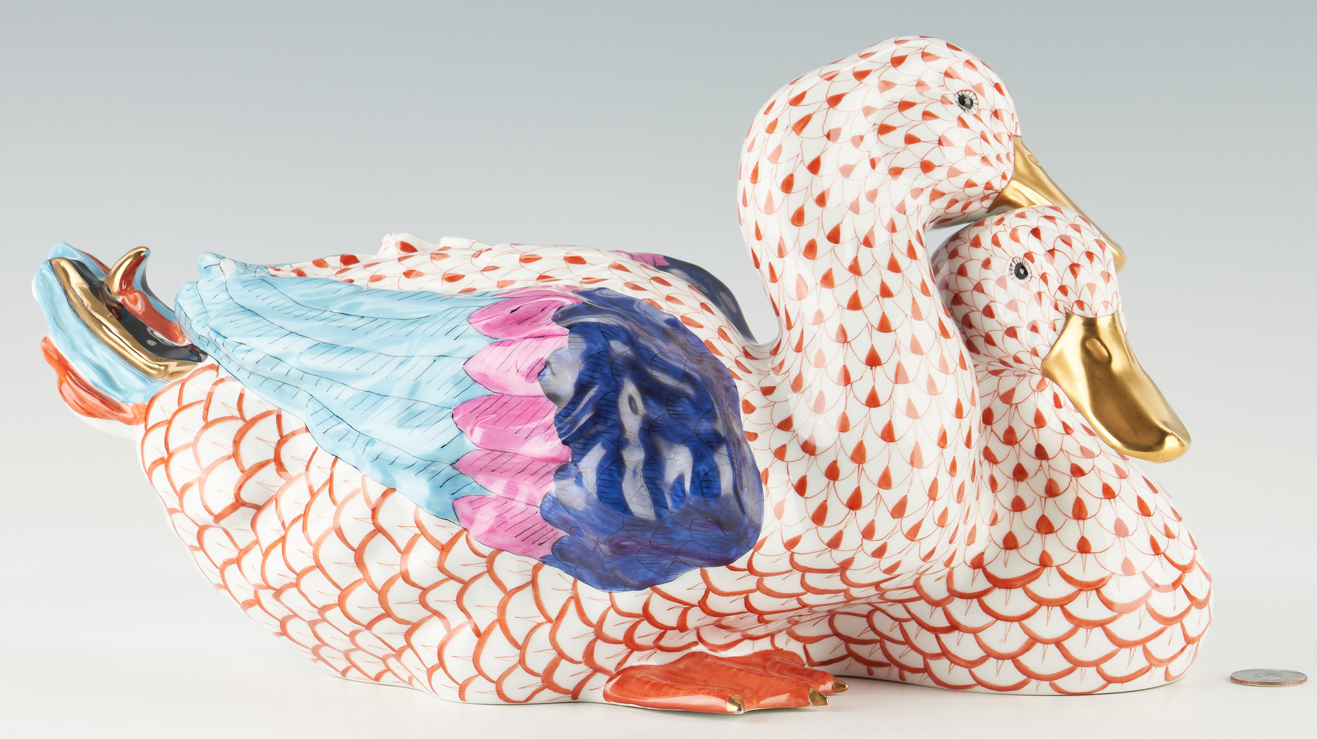 Lot 945: Large Herend Pair of Ducks, Red Fishnet Design