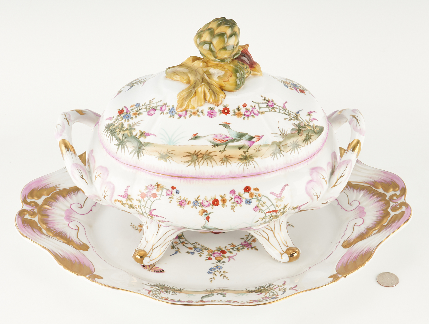 Lot 947: Sevres Style Porcelain Tureen & Underplate