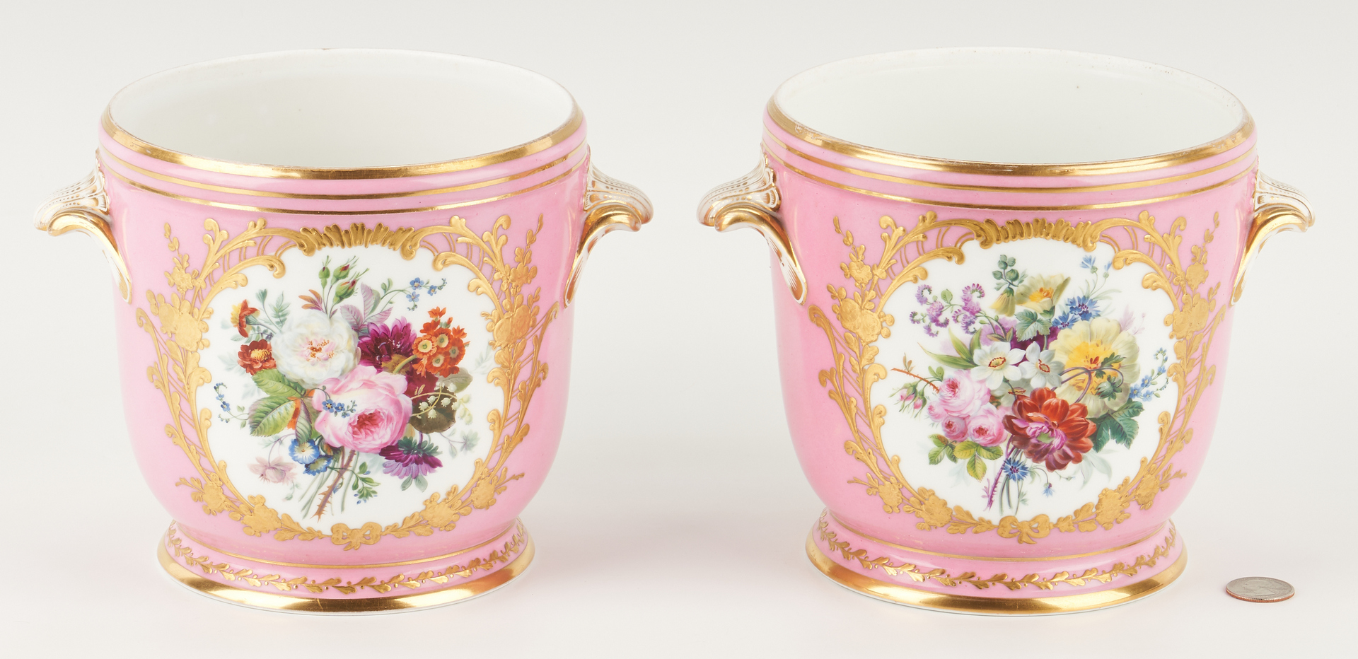 Lot 949: Pair of French Porcelain Cachepots or Wine Coolers