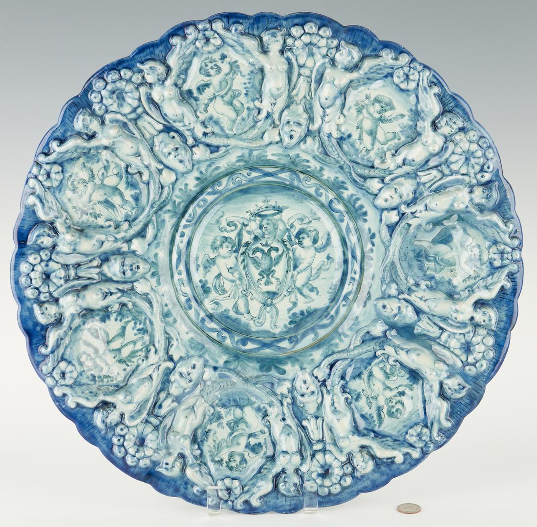 Lot 955: Dutch Faience Figural Relief Porcelain Charger