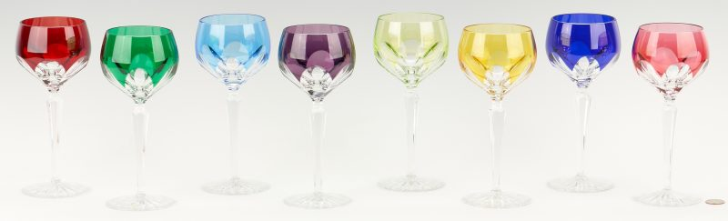 Lot 958: Set of 8 Faberge Lausanne Pattern Crystal Wine Hock Glasses