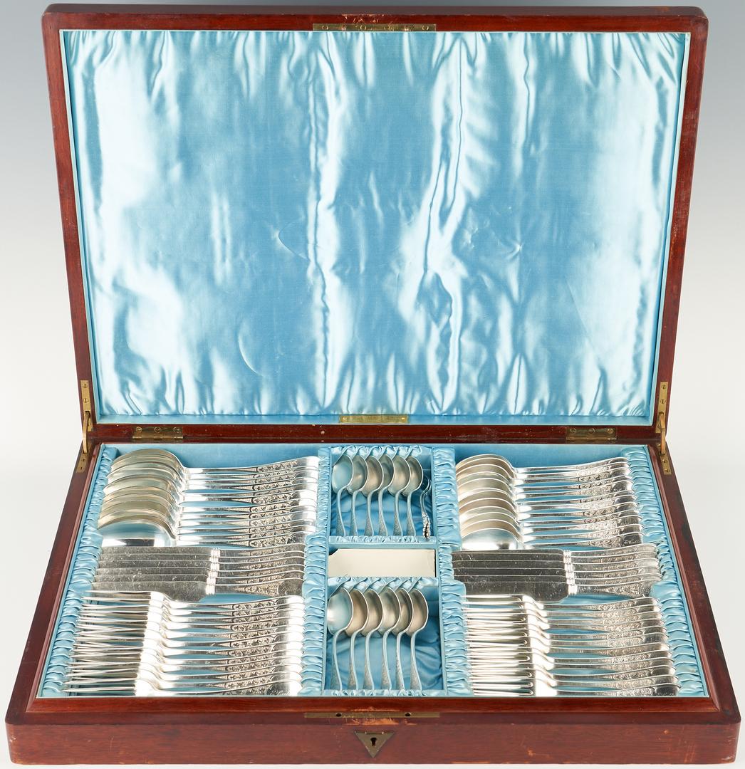 Lot 95: Tiffany Antique Ivy Sterling Flatware, 70 Pcs. plus 5 assorted (75 pcs total)