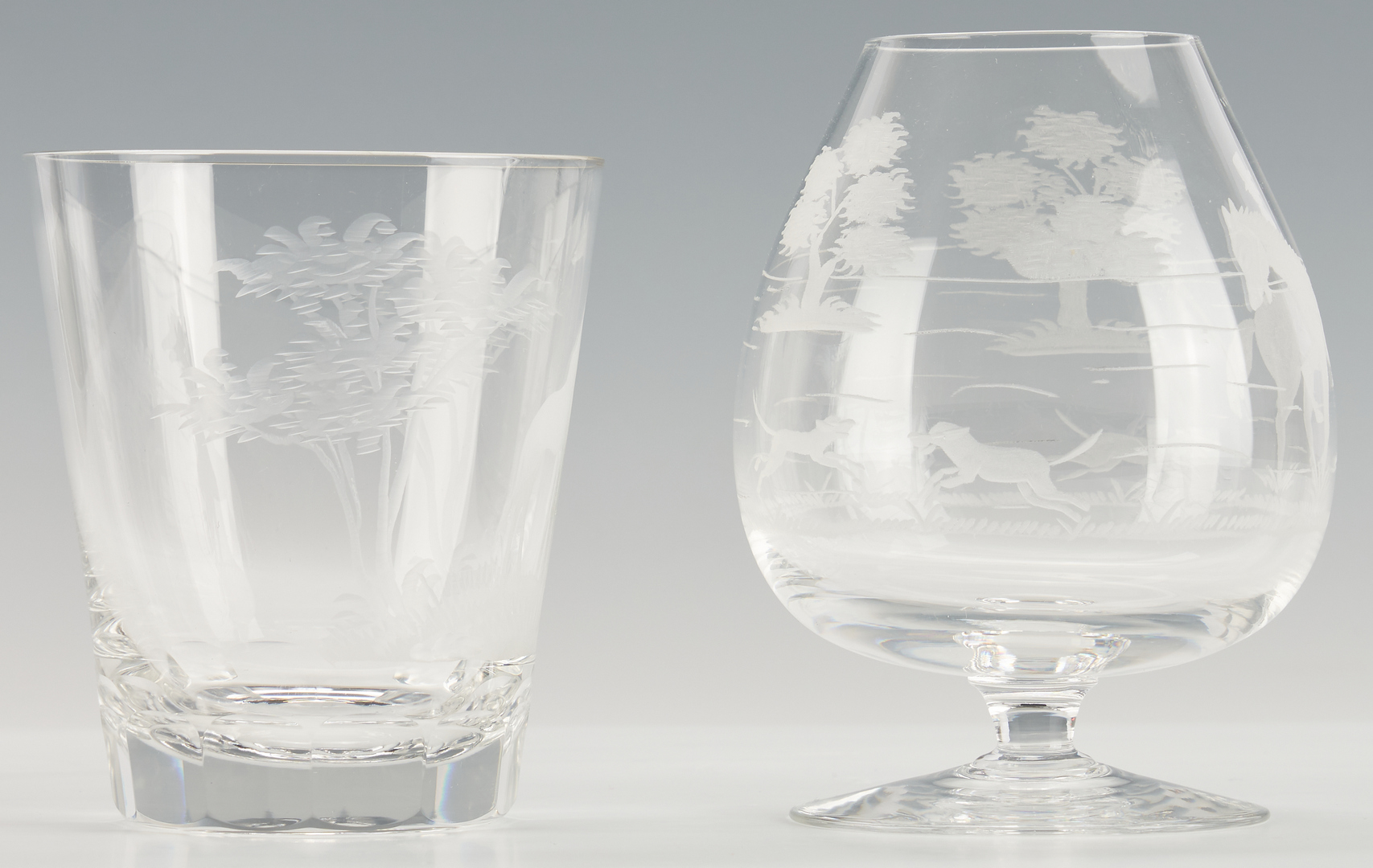 Lot 961: 15 pcs Etched Hunt Theme Crystal incl. Queen Lace and Royal Brierley