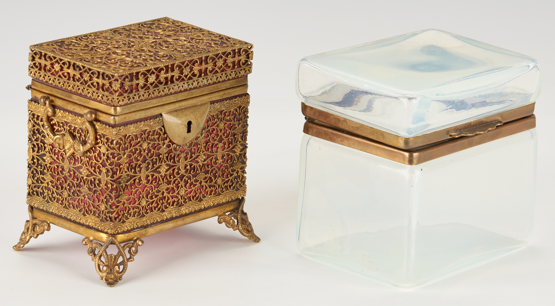 Lot 963: 3 Continental Glass Vanity Items, incl. Moser Perfume