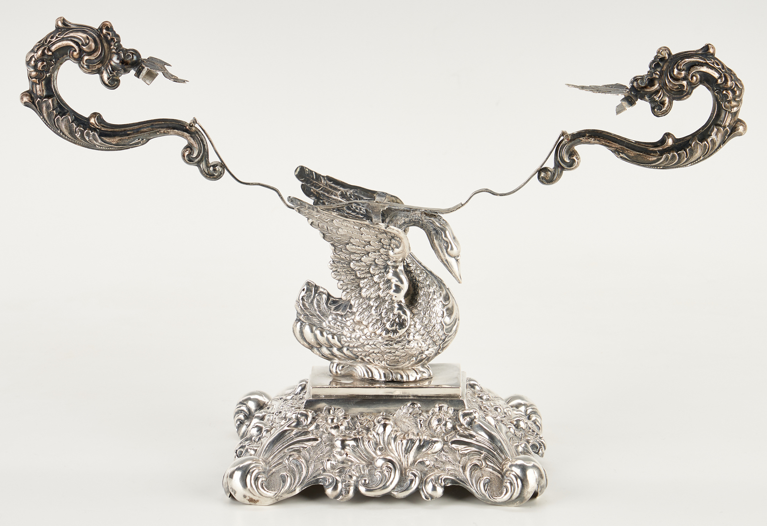 Lot 964: Continental Cut Crystal and Silverplated Swan Compote