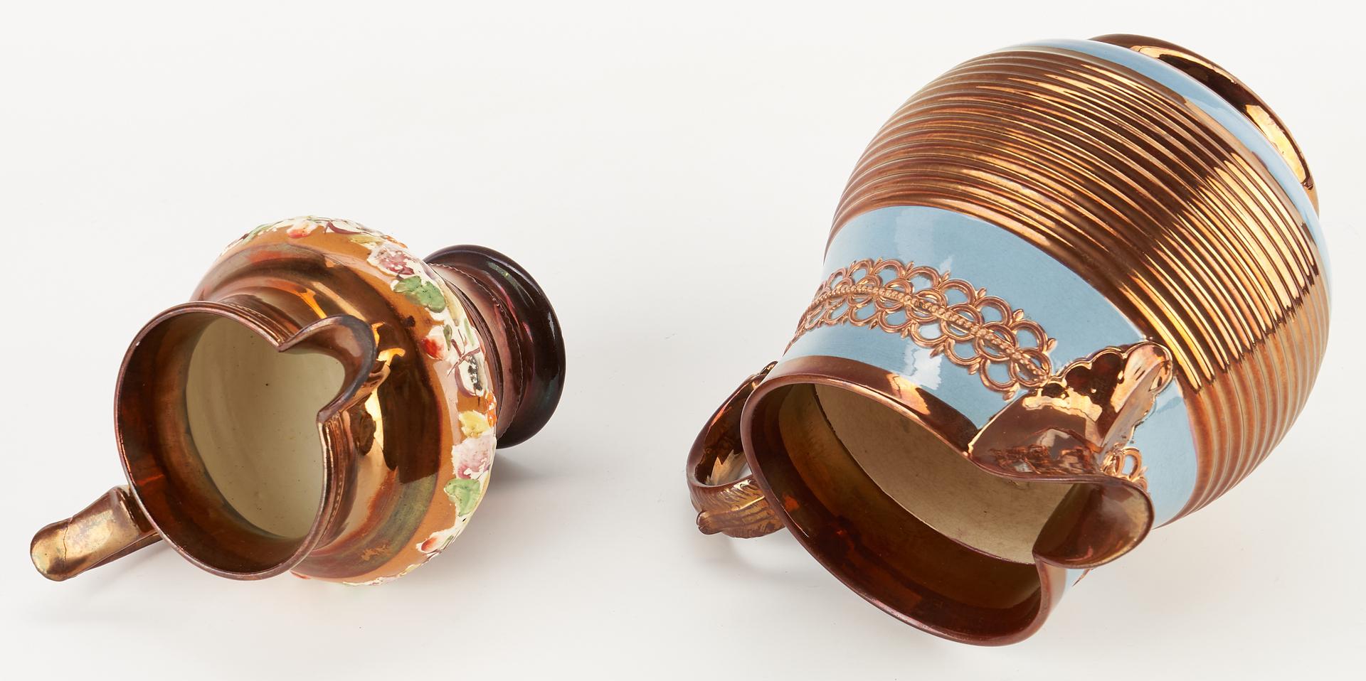 Lot 965: 2 Copper Lustre Pitchers & 4 Pcs. Decorative Glassware, 6 items