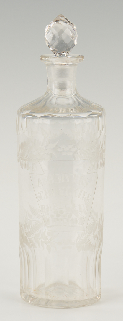Lot 966: Engraved Cut Glass Whiskey Decanter & 9 Colored Glass Tumblers