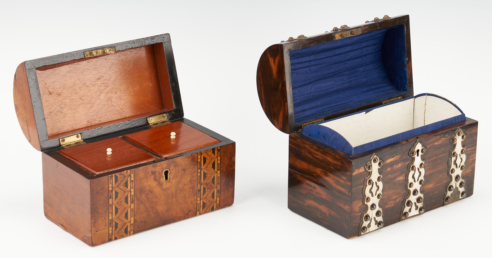 Lot 967: 2 Wood Dome Top Storage Boxes, incl. Burl & Coromandel