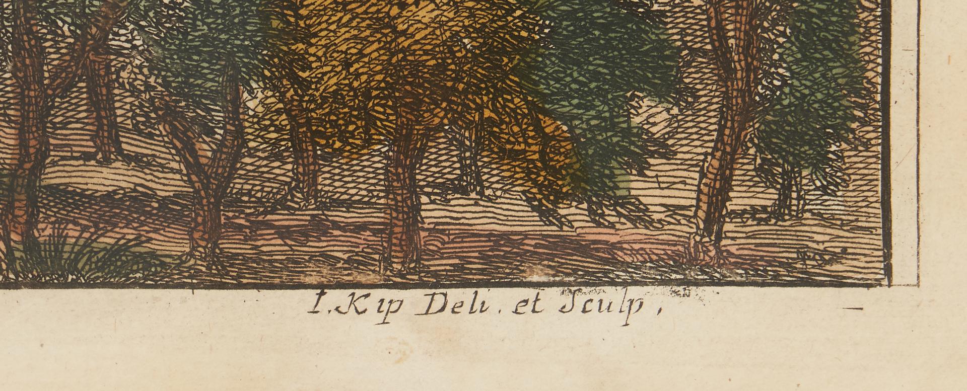 Lot 972: 2 Johannes Kip Architectural Engravings of English Estates & 1 English Watercolor