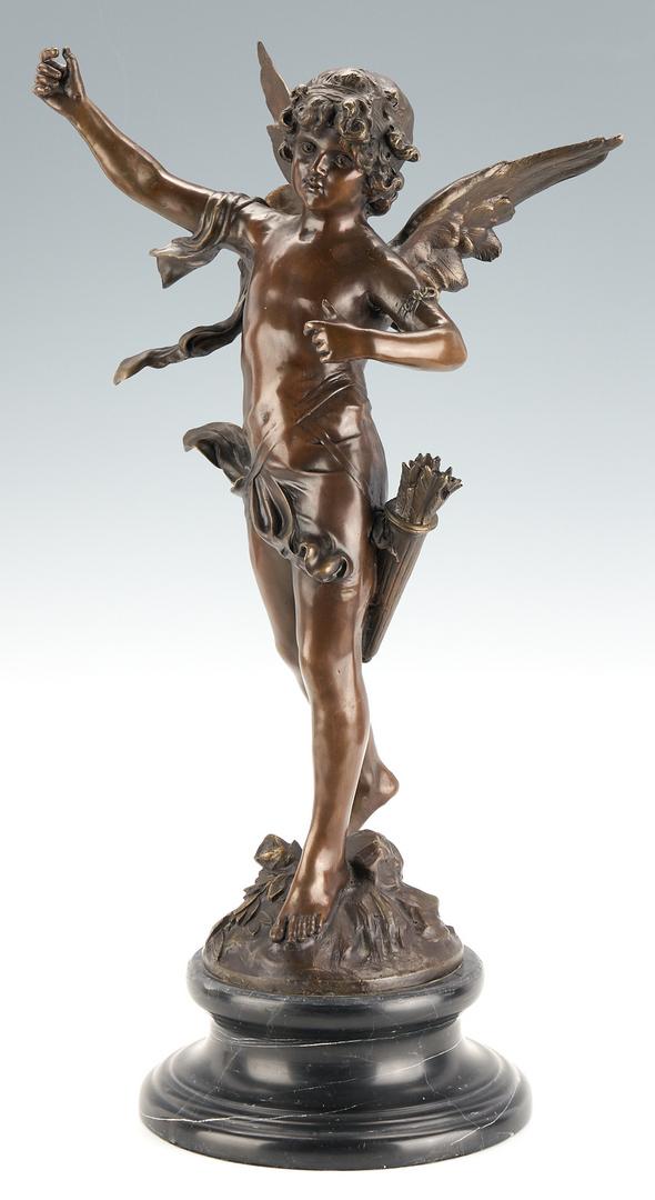 Lot 977: After Auguste Moreau Bronze Cherub Sculpture