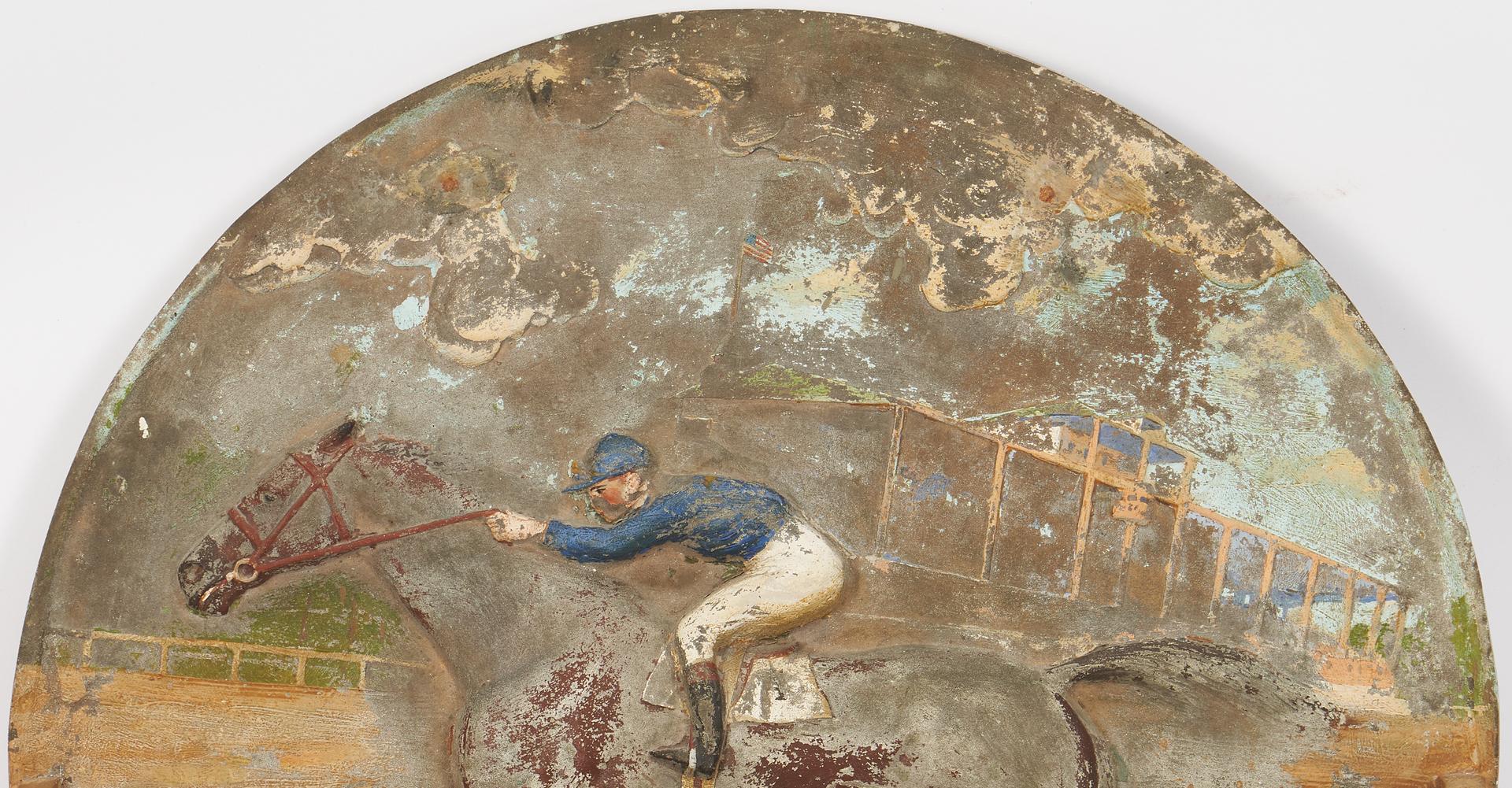 Lot 980: Pair of Antique Cast Iron Plaques, Jockeys w/ Racehorses