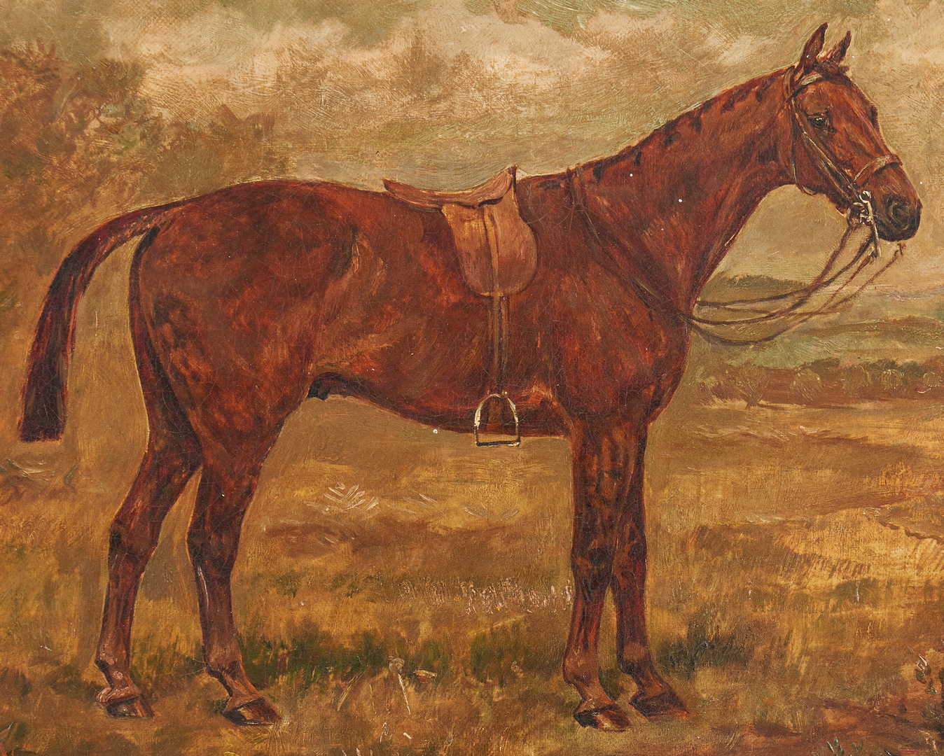 Lot 981: 2 Oil on Canvas Horse Paintings, incl. Trickett