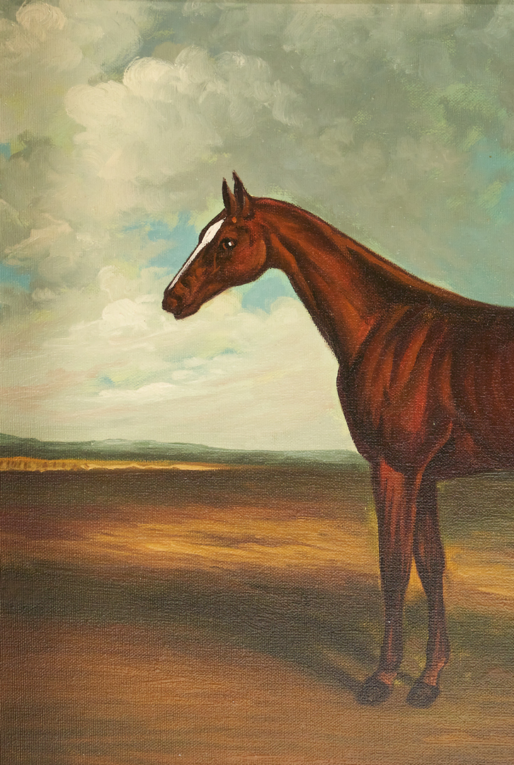 Lot 983: 6 Horse Related Artworks, incl. 2 O/C Portraits & 4 Engravings