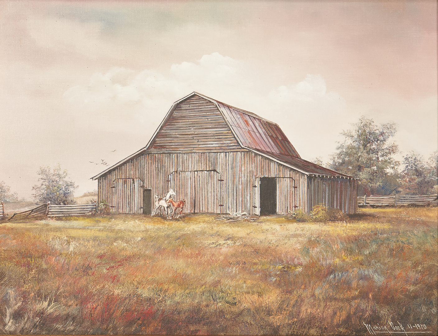 Lot 985: Marion Cook, Barn w/ Horses O/C Painting