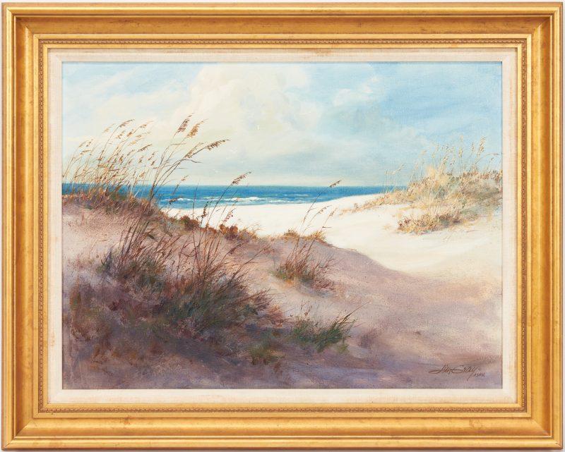 Lot 989: Jim Gray O/C Beach Scene, Near Bar Harbor