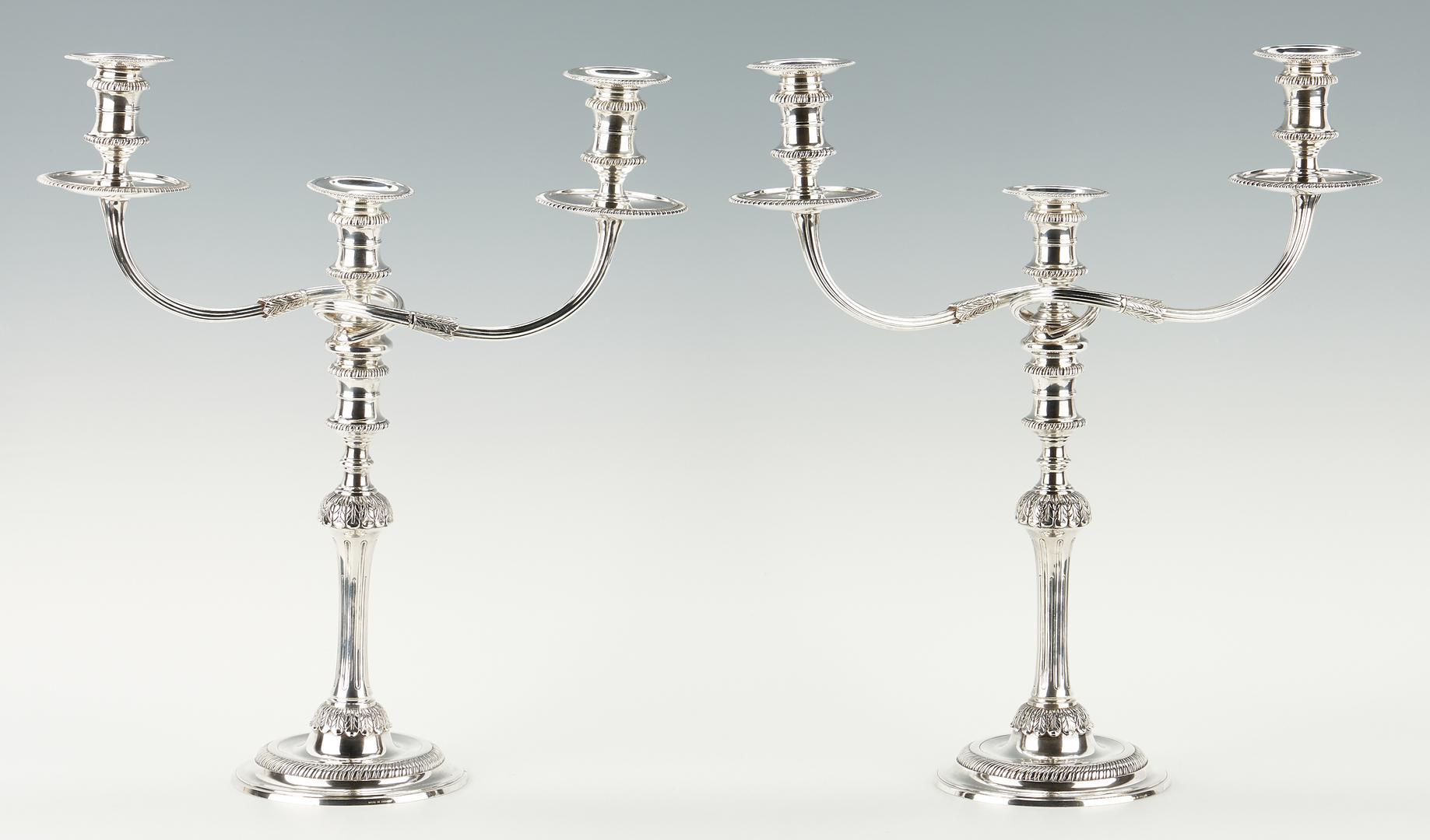 Lot 98: Pr. Regency Style Sterling Candelabra, Tiffany retailed