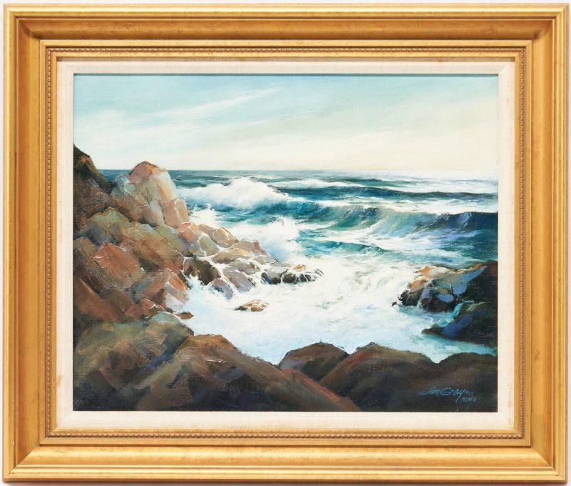 Lot 990: Jim Gray O/C Seascape, Near Bar Harbor