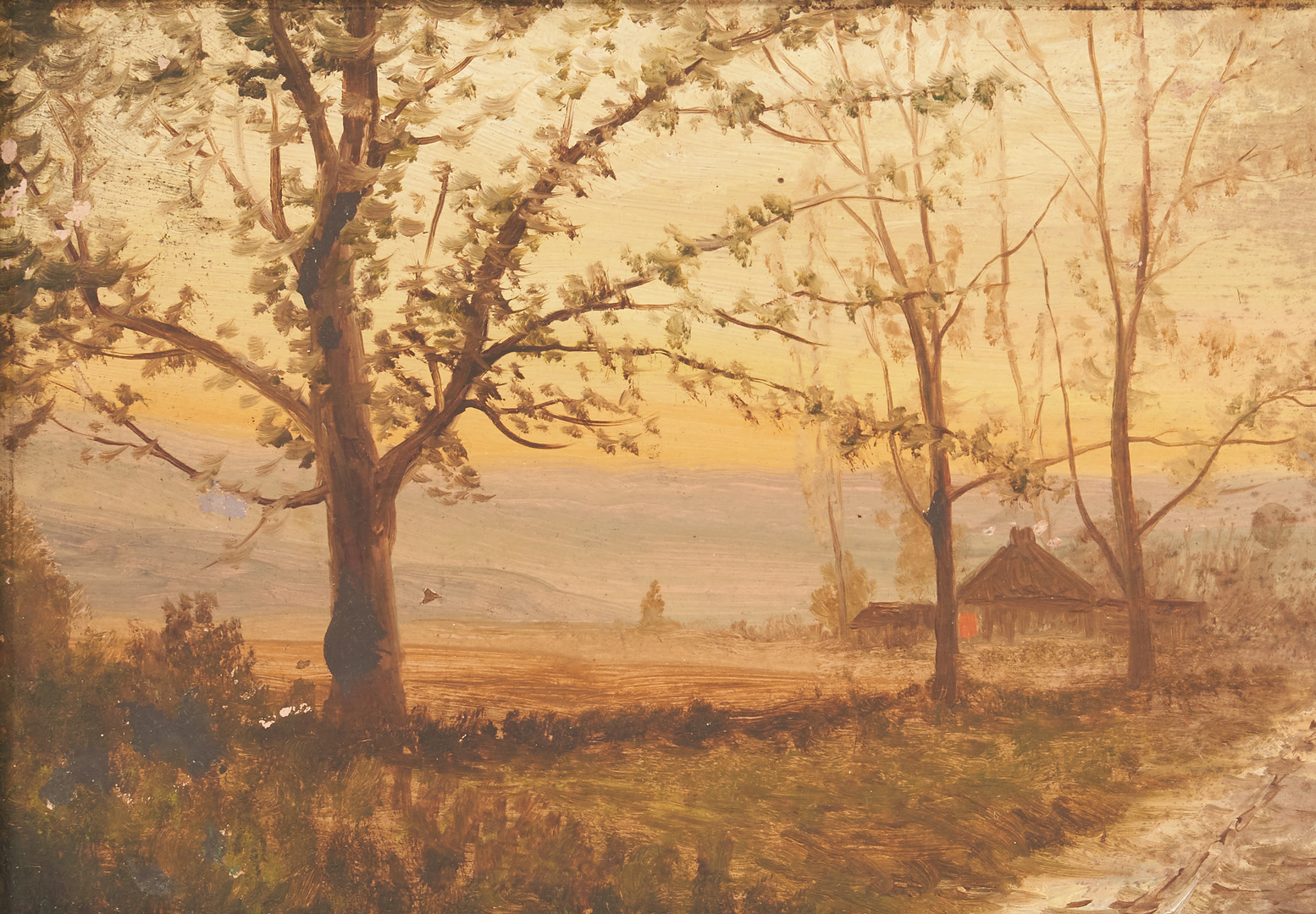 Lot 991: 2 Washington Girard landscape paintings, Country Road and Lake with Boats