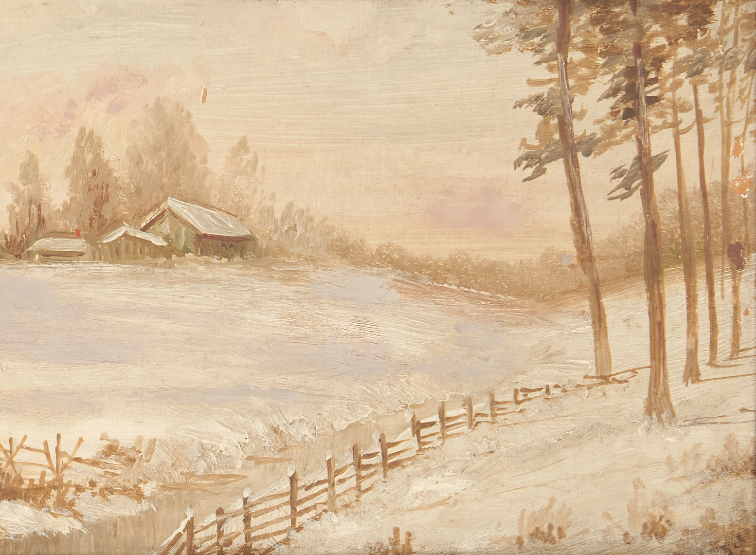 Lot 992: 2 Washington Girard paintings, Winter Landscape and Mountain in Spring