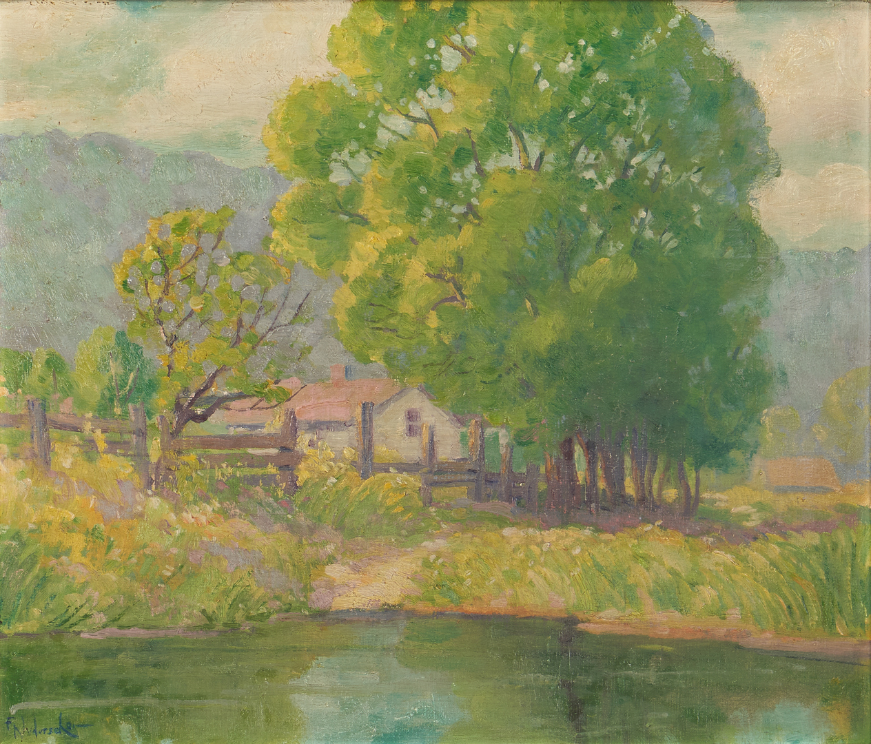 Lot 999: Frank B. Nuderscher O/B, Exhibited Ozark Landscape
