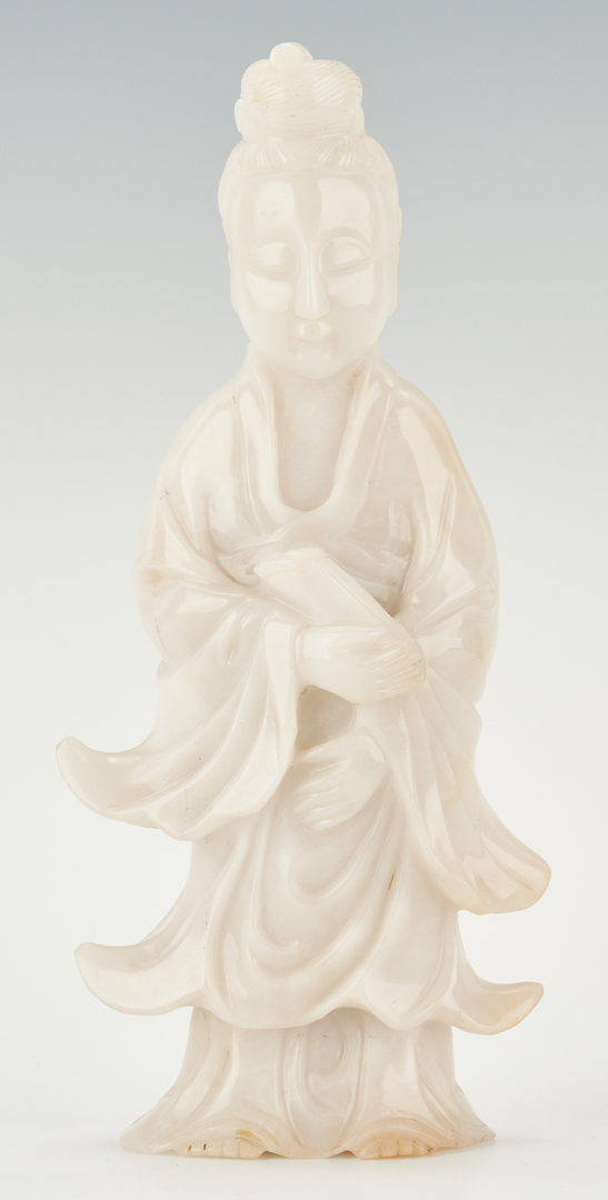 Lot 9: Chinese Carved White Jade Guanyin