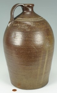 Lot 100: NC Pottery Jug, W. W. Ballard