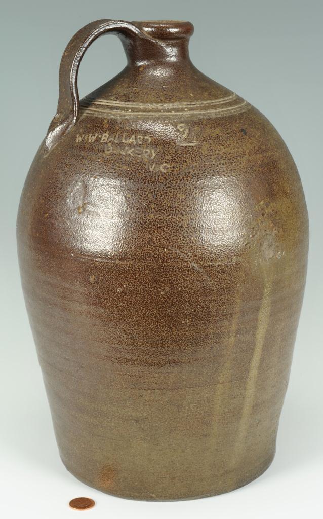 Lot 100: NC Pottery Jug, W. W. Ballard