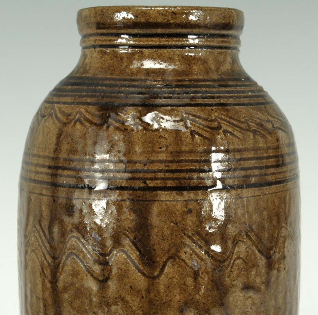 Lot 101: Southern alkaline glazed jar, poss. Home Brew Jar