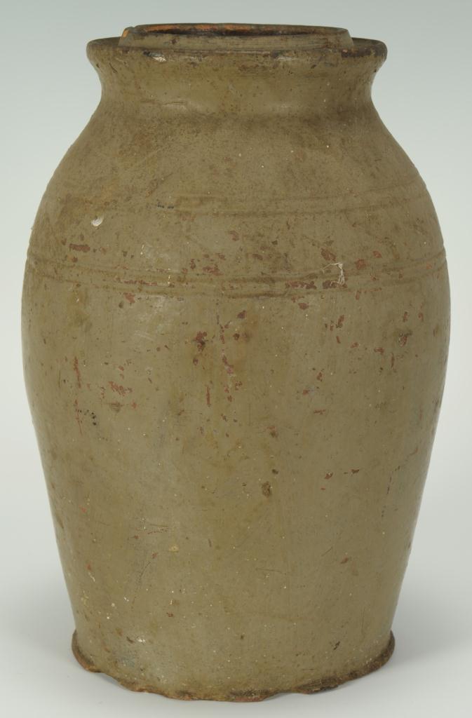 Lot 106: East TN Stoneware Preserving Jar, attrib. Mort
