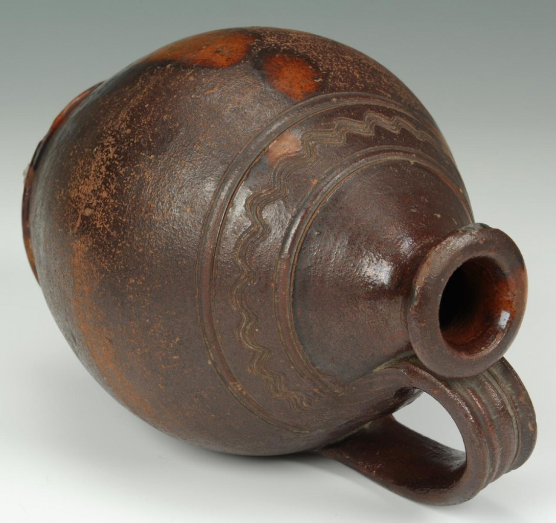 Lot 108: East Tennessee Redware Jug, attrib. Cain pottery