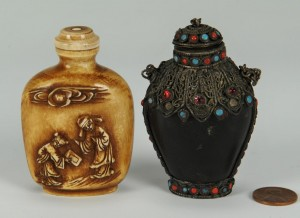 Lot 10: 2 Chinese snuff bottles including horn and ivory
