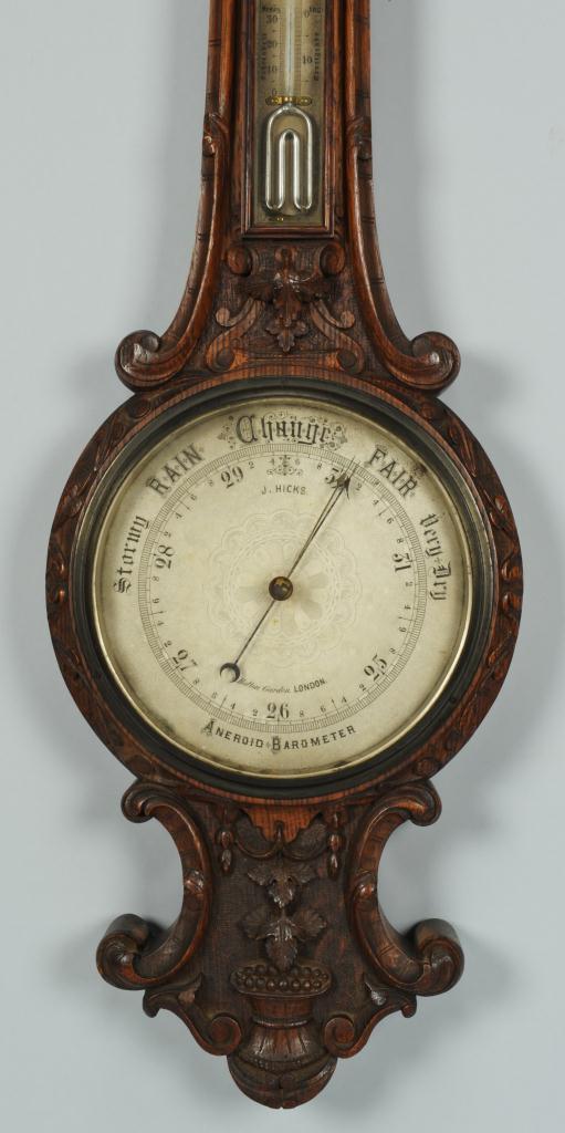 Lot 121: J. Hicks London Aneroid Barometer Thermometer