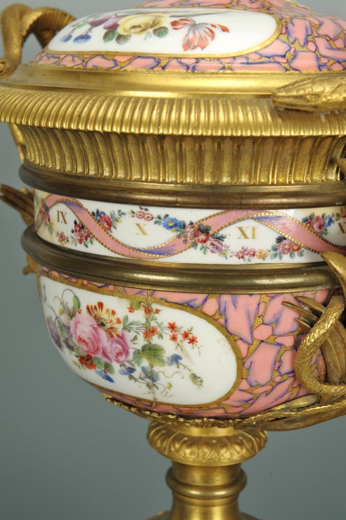 Lot 122: French Porcelain Clock, Cie LeRoy Paris Works