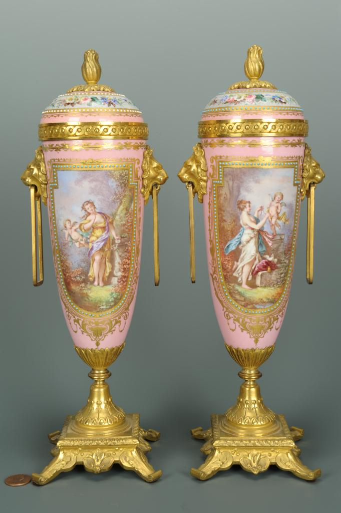 Lot 123: Pr. of French Gilt Bronze Mounted Porcelain Urns