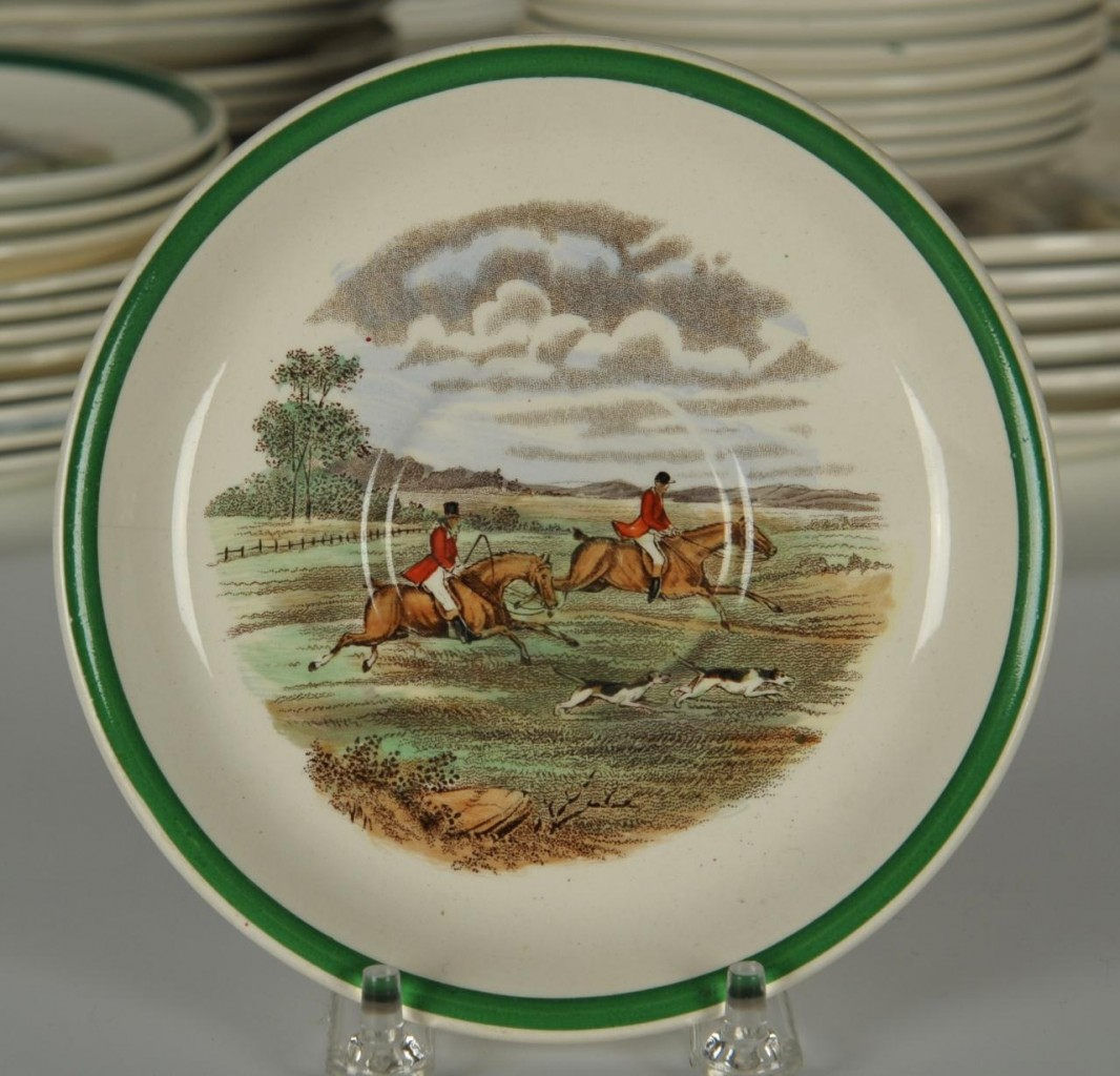 Lot 126: Copeland Spode Hunt Dinnerware, 88 pieces