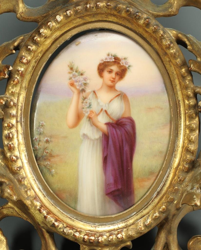 Lot 128: Heubach painted porcelain plaque, after Meisel