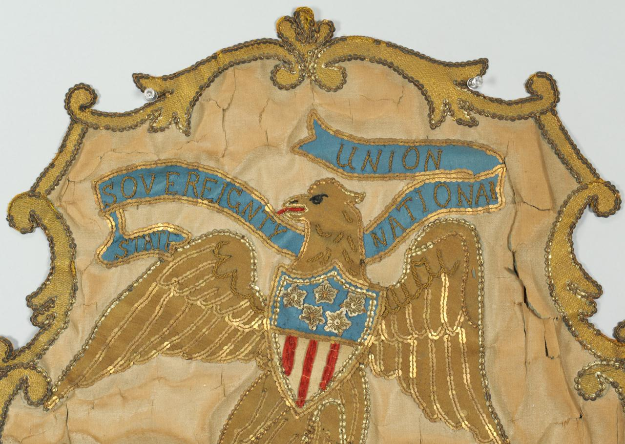 Lot 129: Illinois state seal embroidered banner