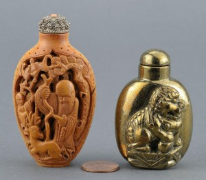 Lot 12: 2 Chinese Snuff Bottles, Gilt bronze & Boxwood