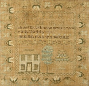 Lot 131: Tennessee Needlework House Sampler, Harriet Bryant