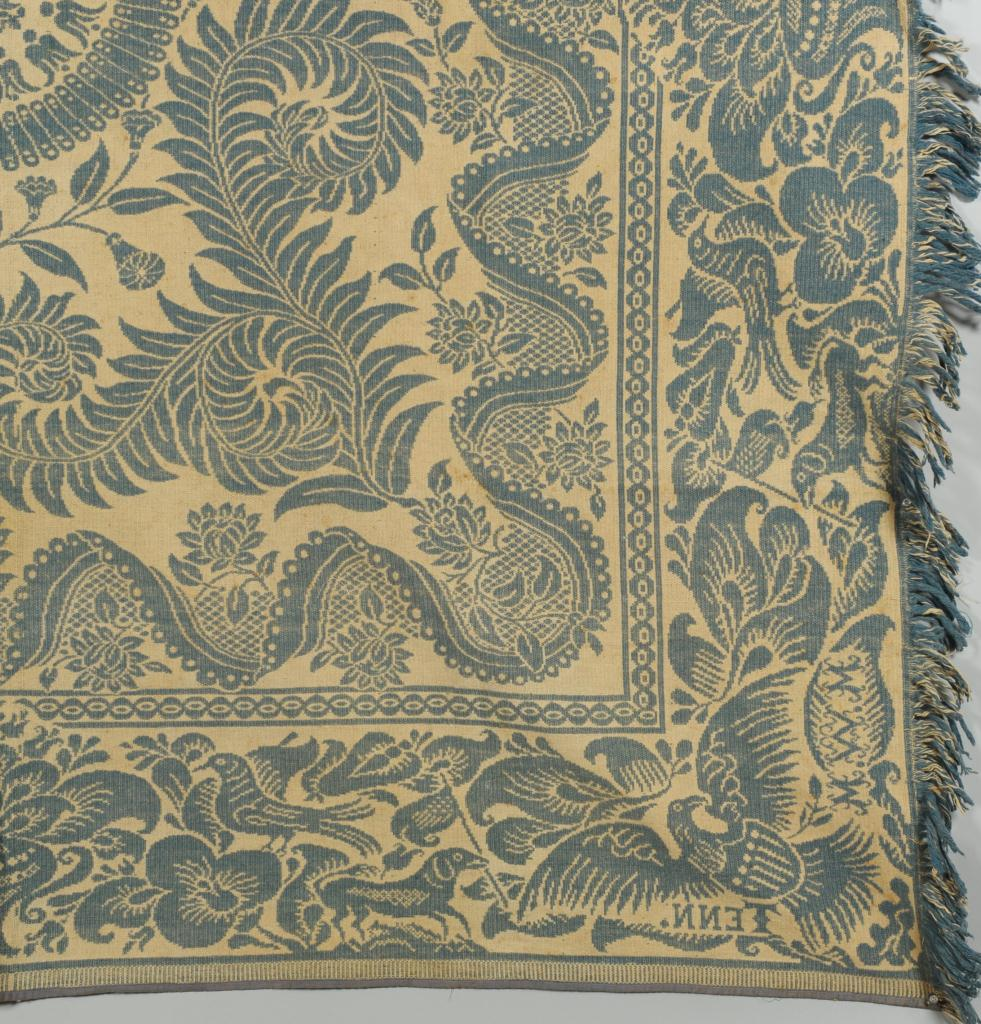 Lot 132: East TN Teal Coverlet, Maryville Woolen Mill Co.