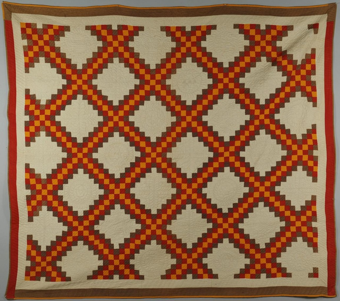 Lot 139: 1891 Dated Quilt, Triple Irish Chain Pattern