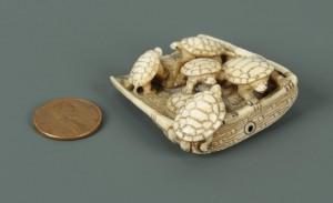 Lot 13: Carved Japanese Ivory Netsuke of Turtles
